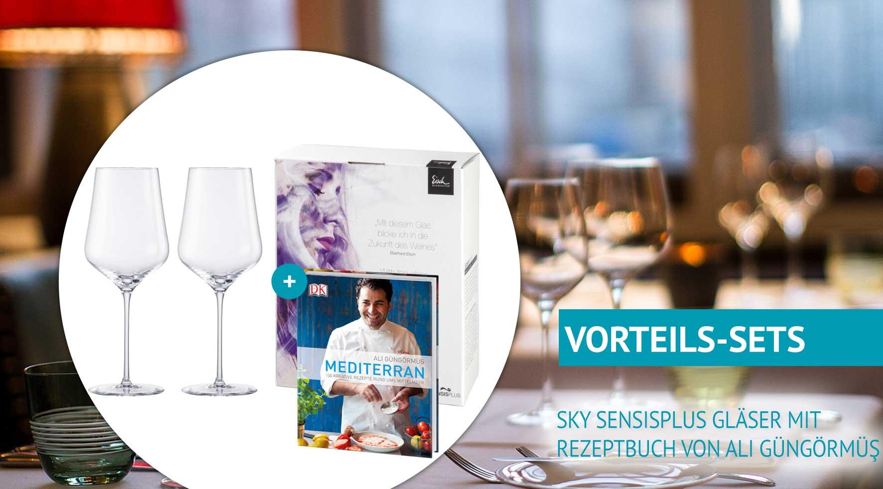 Sets mit SensisPlus-Gläsern und Kochbüchern von Ali Güngörmüs zum Sonderpreis