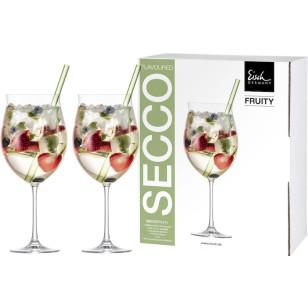 2 Cocktail-Gläser Fruity Secco Flavoured mit 2 Glashalmen grün im Geschenkkarton