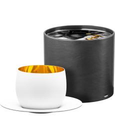 Cappuccinoglas 300 ml mit Untersetzer in Geschenkröhre Cosmo pure white