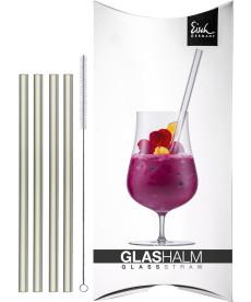 Glashalm-Set 150 mm kurz kristall 4x + Bürste im Geschenkkarton Gentleman