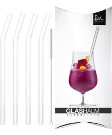 Glashalm-Set 225 mm geknickt kristall 4x + Bürste im Geschenkkarton Gentleman