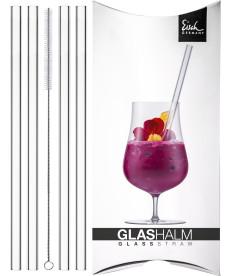 Glashalm-Set 4 Glashalme + 1 Reinigungsbürste Gentleman im Geschenkkarton
